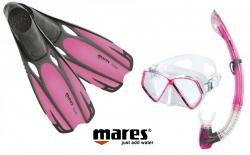 Sada PIRAT maska, šnorchl s ploutvemi 27/30 růžová, Mares