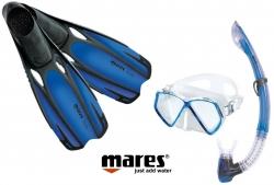 Sada PIRAT maska, šnorchl s ploutvemi 34/35 modrá, Mares
